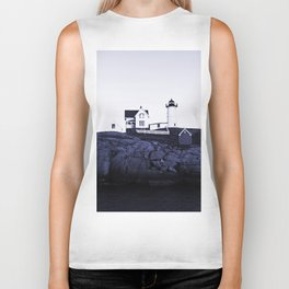 Navy Blue Lighthouse Biker Tank