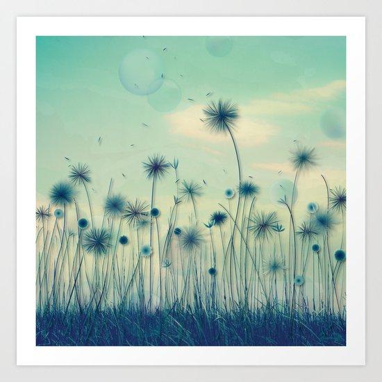 Whimsical Indigo Dandelion Flower Garden Art Print