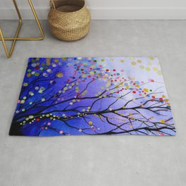 sparkling winter night sky Rug