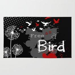 Trash Polka Dandelions Blow Into Birds Rug