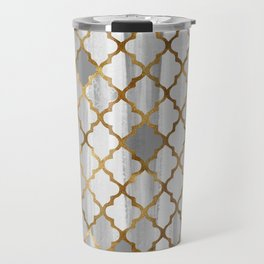 Moroccan Tile Pattern In Grey And Gold Travel Mug