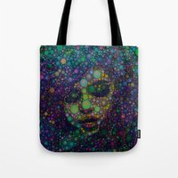 selena gomez Tote Bags featuring Beautiful Selena  by Amy Anderson