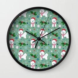Bichon Frise dog Christmas pattern Wall Clock