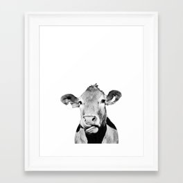 Cow photo - black and white Framed Art Print