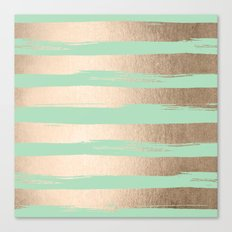 Painted Stripes Gold Tropical Ocean Green Canvas Print