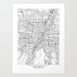 Munich Map White Art Print
