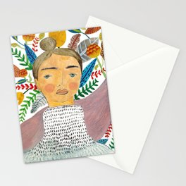 Woman in Florals Stationery Cards
