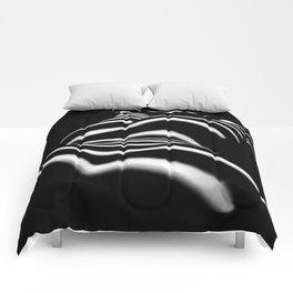 8903-SLG Sensual Nude Woman Back Shoulders Butt Erotic Curves Black & White Zebra Stripes Comforters