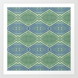 small zigzag on blue and green Art Print
