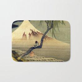 Katsushika Hokusai Boy Viewing Mount Fuji Bath Mat