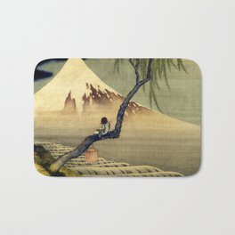 Katsushika Hokusai Boy Viewing Mount Fuji Bath Mat