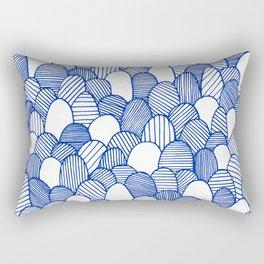 Striped Scallops - Blue Rectangular Pillow