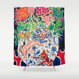 Lion, Cheetah and Tiger Still Life - Wildflowers in Wild Cat Vase After Matisse Shower Curtain