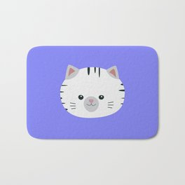 Black and White tiger cat Bath Mat