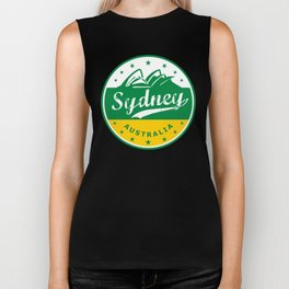 Sydney City, Australia, circle, green yellow Biker Tank