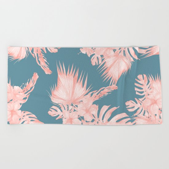 Tropical Palm Leaves Hibiscus Flowers Pink Blue Beach Towel
