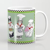 chef Mugs featuring Chef Cat by Cats and Dogs by Nina Lyman