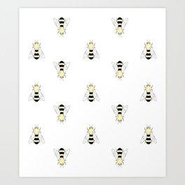 Vintage Bee Pattern Art Print