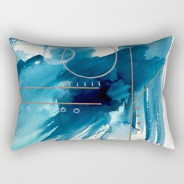 Beneath the Waves Series 2 - a blue and gold abstract mixed media set Rectangular Pillow