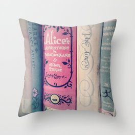 Pink Books Throw Pillow