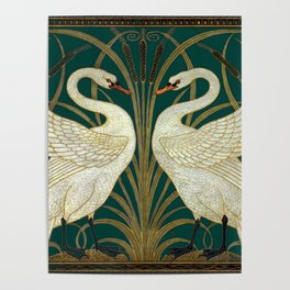 Walter Crane's Swan, Rush, Iris Poster
