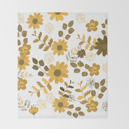 Big Yellow and Brown Flowers Throw Blanket