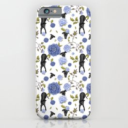 Cute Black Greyhounds with Blue Peonies Chinoiserie Pattern - White Theme iPhone Case