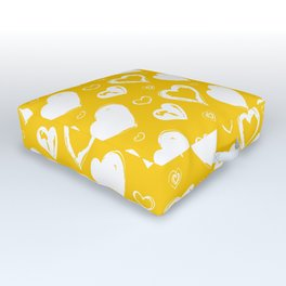 Handdrawn Hearts (Yellow/White): an exciting, fresh, fun pattern to light up your day Outdoor Floor Cushion