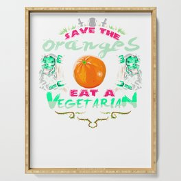 Save Oranges Eat Vegetarian Zombie Serving Tray