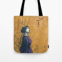 stucky Tote Bags featuring It's the sound you hear right before you die or fall in love by Shawn Stucky