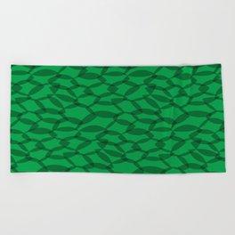 Overlapping Leaves - Dark Green Beach Towel