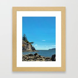 A lone figure on a cliff Framed Art Print