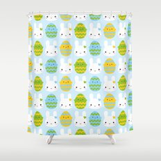 Kawaii Easter Bunny & Eggs Shower Curtain