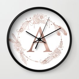 Letter A Rose Gold Pink Initial Monogram Wall Clock