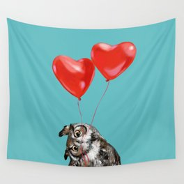 Owl with Love Wall Tapestry