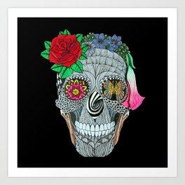 Lady Skull ready to party Art Print
