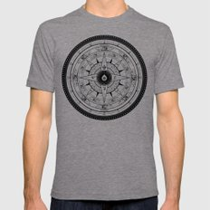 Compass Rose Mens Fitted Tee MEDIUM Tri-Grey