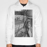 bicycles Hoodies featuring bicycles near the canal by habish