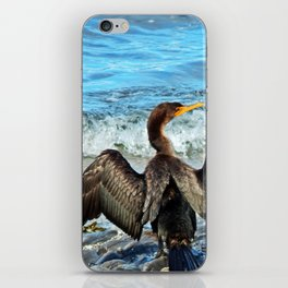 Cormorant Dries off in front of the Sea iPhone Skin