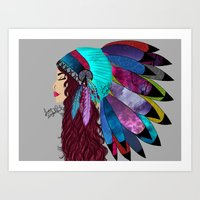 native american Art Prints featuring native american  by Lunah