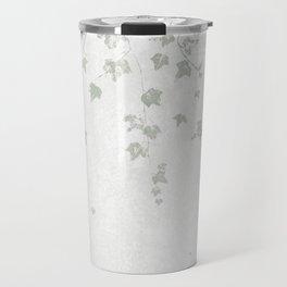 Soft Gray Green and White Trailing Ivy Leaf Print Travel Mug