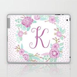 Monogram K - cute girls purple florals flower wreath, lilac florals, baby girl, baby blanket Laptop & iPad Skin