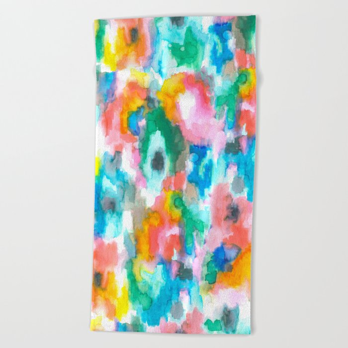 Paradise Watercolor Ikat Beach Towel