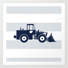 Navy Bulldozer Art Print
