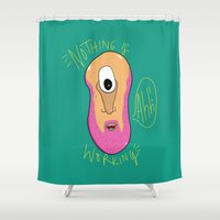 cyclops Shower Curtains featuring Beardy Cyclops by Chelsea Herrick