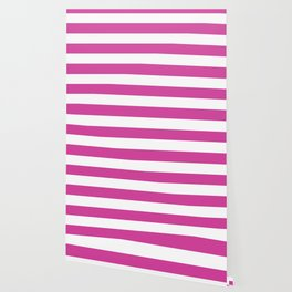 Barbie Pink (1975-1990) - solid color - white stripes pattern Wallpaper