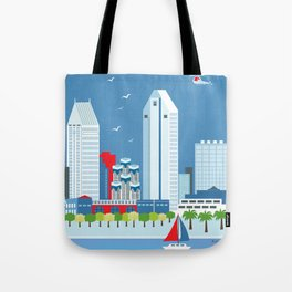 San Diego, California - Skyline Illustration by Loose Petals Tote Bag
