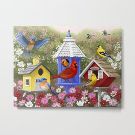 Birds and Colorful Bird Houses Metal Print