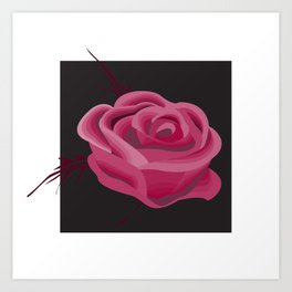 Pink Hue Single Rose Art Print