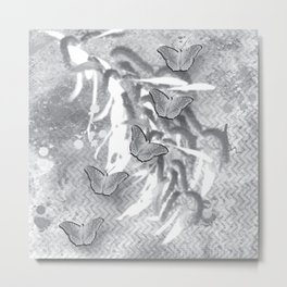 Butterflies in a gray abstract landscape Metal Print